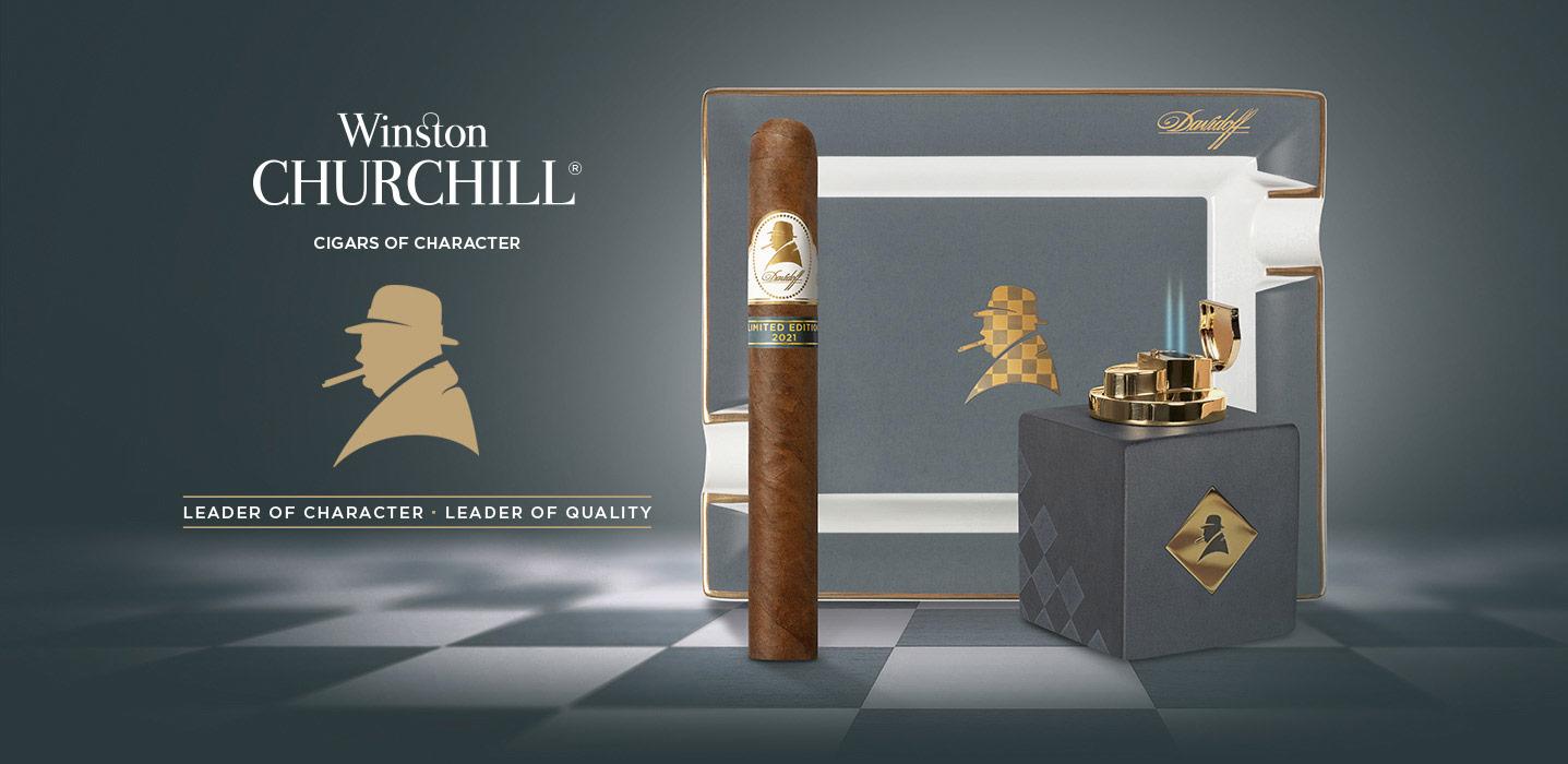 Der Davidoff Winston Churchill2021LimitedEdition Zigarrenkollektion mit Zigarre, Aeschenbecher und Tischfeuerzeug