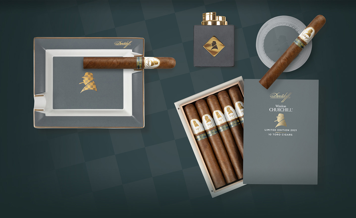 The Davidoff Winston Churchill Cigar Collection 2021 includes a Toro Cigar, an Ashtray and a Table Lighter