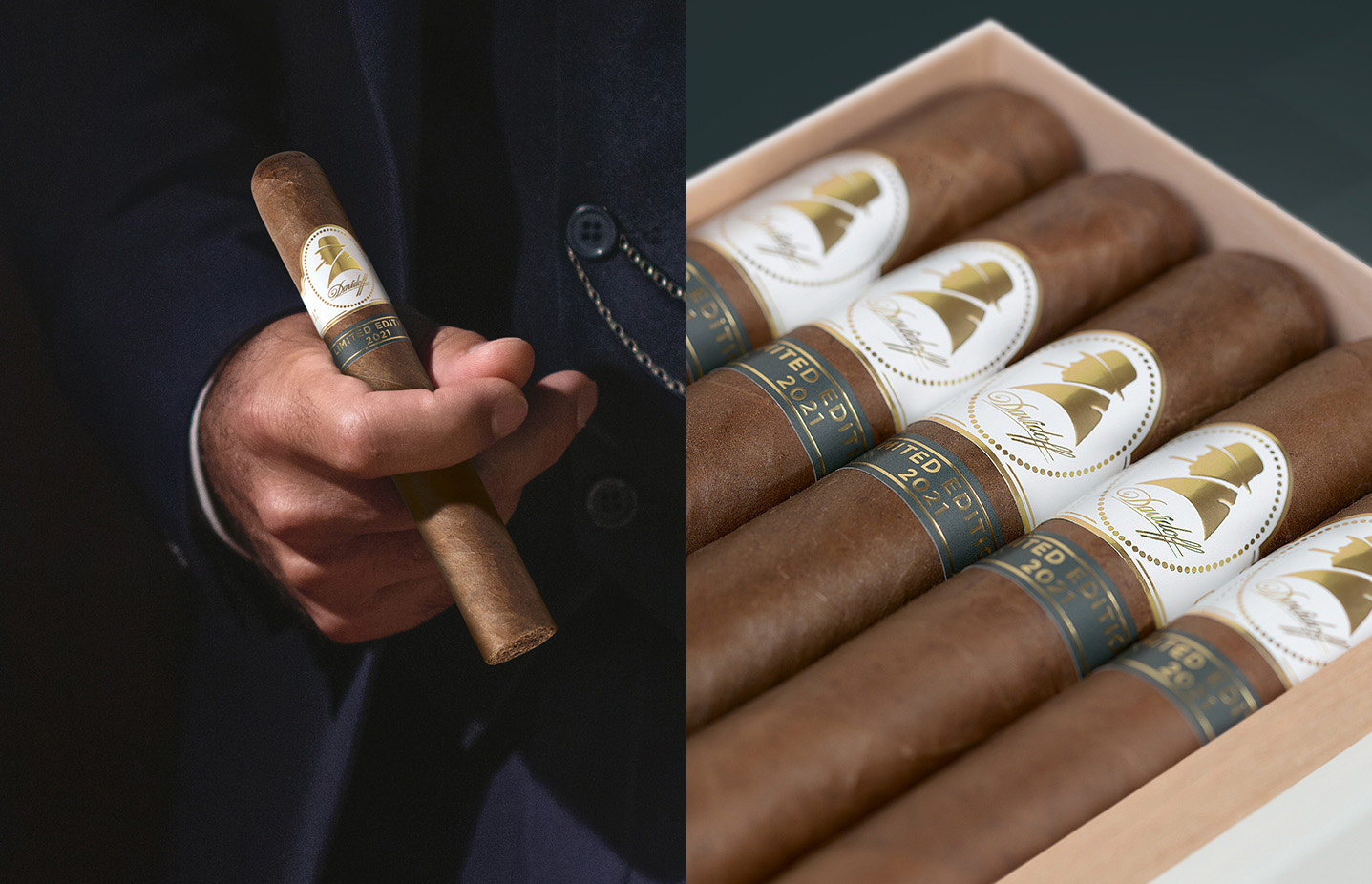 The Davidoff Winston Churchill Cigar held in a hand