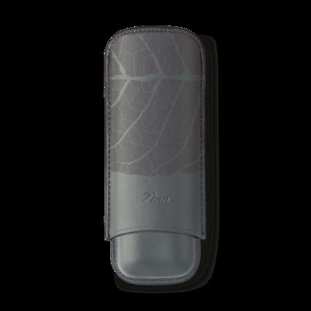 Zino Cigar Case 'Graphic Leaf', Grey - 2 Cigars / XL