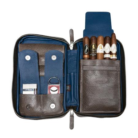 Peter James Aficionado Cigar Case, Oceana / Grey & Blue