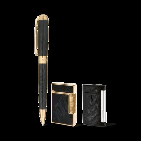 S.T. Dupont James Bond Lighters And Pen Set, Black Lacquer / FREE MiniJet Case
