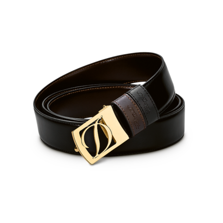 S.T. Dupont Belt Reversible Black / Brown, Logo Delta Box / Gold