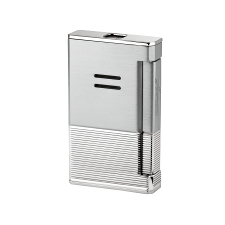 Davidoff Jet Flame Lighter, Horizontal Lines / Brushed / Palladium Coated