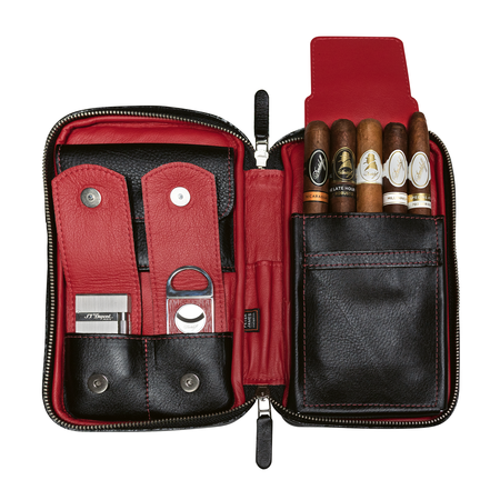 Peter James Aficionado Cigar Case, Black & Red