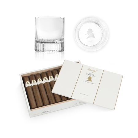 Davidoff Winston Churchill Robusto Set, Box of 20 + 2 Glass Set
