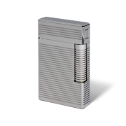 Davidoff Double Flame Lighter 'Prestige', Horizontal Lines / Palladium Coated