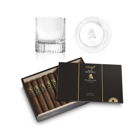 Davidoff Winston Chur.Late Hour Robu Set, Box of 20 + 2 Glass Set