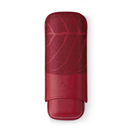 Zino Cigar Case 'Graphic Leaf', Red - 2 Cigars / XL