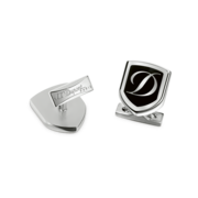 S.T. Dupont Cufflinks D Collection, Palladium Logo / Black