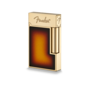 S.T. Dupont Ligne 2 Lighter Fender, Gold / Brown Lacquer