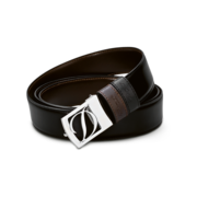 S.T. Dupont Belt Reversible Black / Brown, Logo Delta Box / Palladium