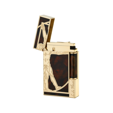 S.T. Dupont Ligne 2 Lighter Vitruvian Man, Gold / Brown