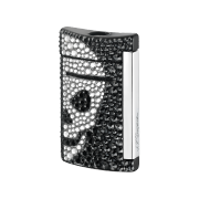 S.T. Dupont MiniJet Lighter 'Swarowski', Black / White Skull
