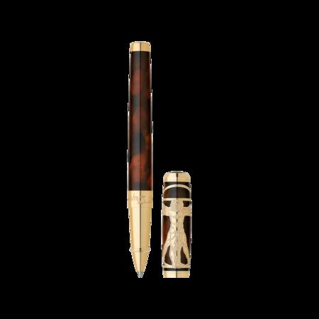 S.T. Dupont Line D Pen Vitruvian Man, Roller Ball / Brown & Gold