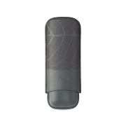 Zino Cigar Case 'Graphic Leaf', Grey - 2 Cigars / XL