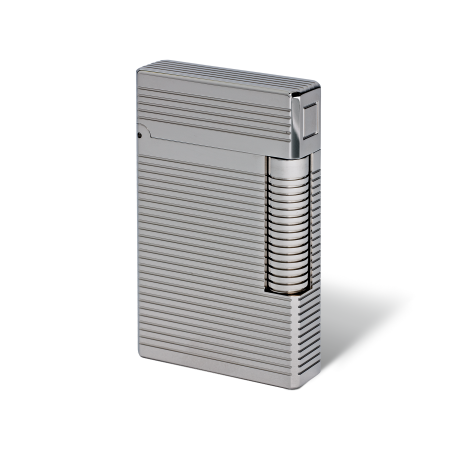 Davidoff Double Flame Lighter 'Prestige', Horizontal Lines / Palladium Coated