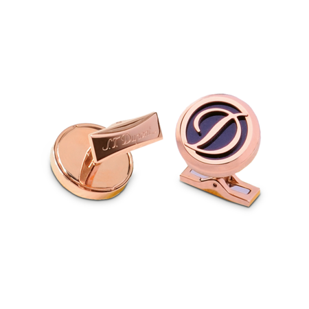 S.T. Dupont Cufflinks D Collection, Rose Gold Logo / Blue
