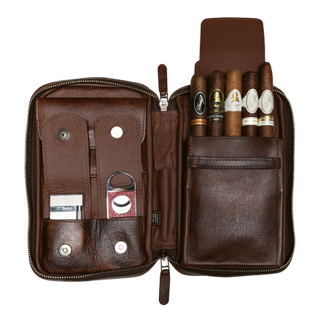 Peter James Aficionado Cigar Case, Castano / Brown