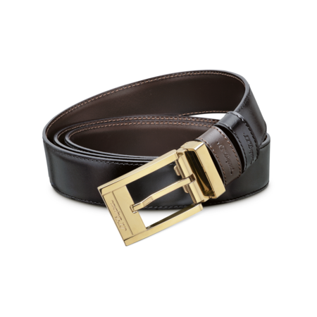 S.T. Dupont Belt Reversible Black / Brown, Delta Box / Gold
