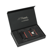 S.T. Dupont MaxiJet Lighter and Cutter Set, Black Red Pattern