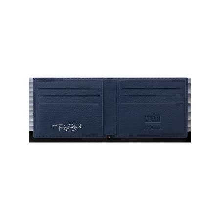 S.T. Dupont Tony Stark Wallet, Blue Leather 6 Credit Card Holder