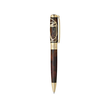 S.T. Dupont Line D Pen Vitruvian Man, Ball Point / Brown & Gold